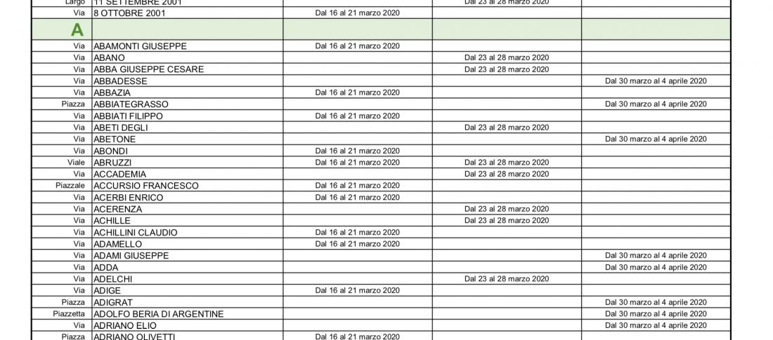 Calendario sanificazione Coronavirus Milano